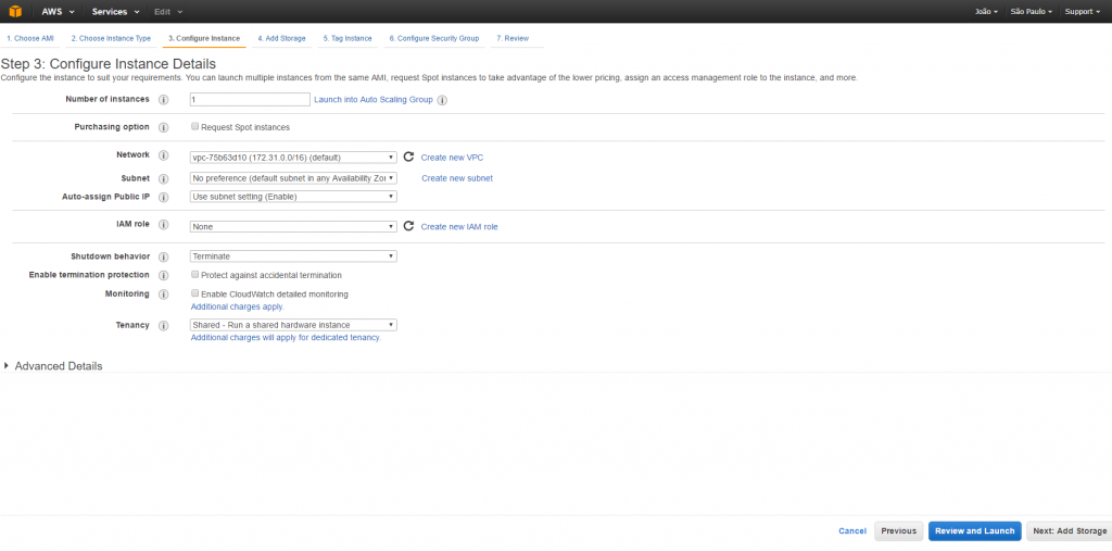 AWS - Passo 3 - Detalhes de Configuração da Instância
