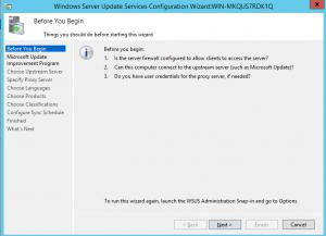 WSUS - Configurações Iniciais