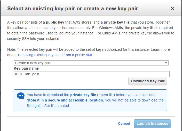 AWS - Criando uma key pair