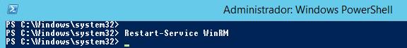 Reiniciando o WinRM